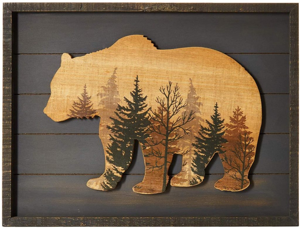 NIKKY HOME Cute Bear in The Forest Decorative Wood Framed Wall Art Prints Cabin Decor