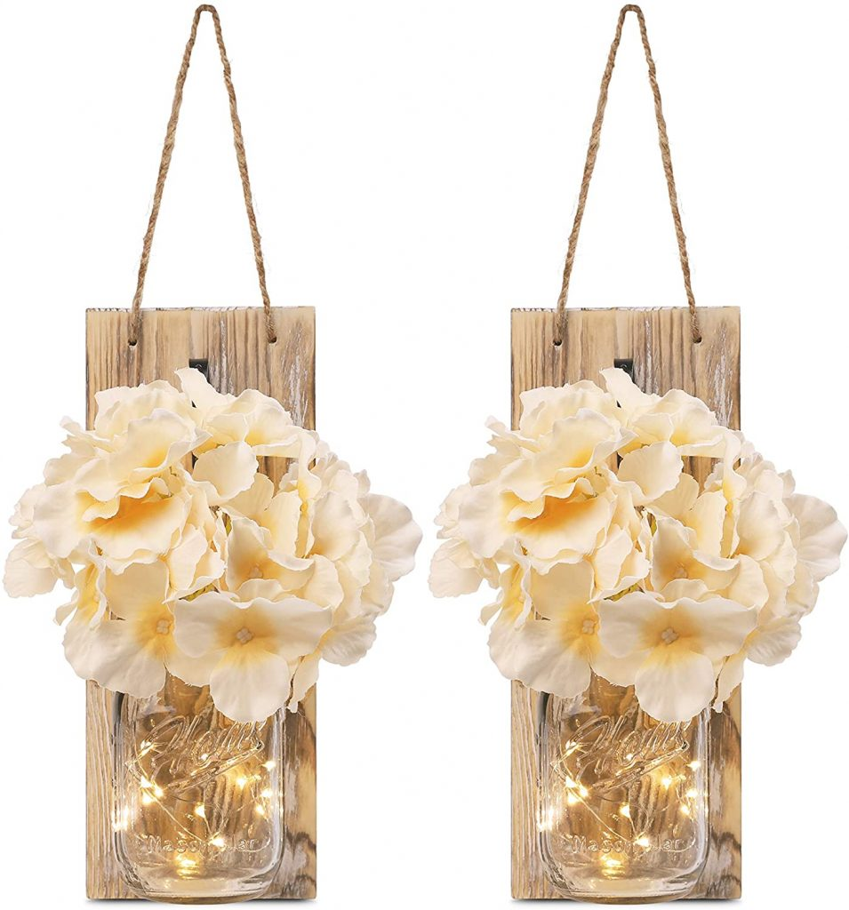 GBtroo Rustic Mason Jar Sconces for Home Decor 6 Hours Timer Decorative Flower Wall Decor with LED Strip Lights, Silk Hydrangea, and Wrought Iron Hooks for House Decoration