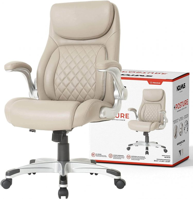 Best lumber support NOUHAUS posture Ergonomic PU leather office chair