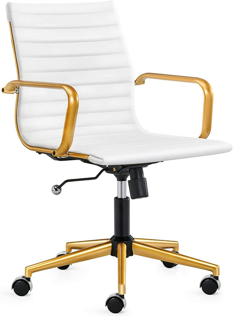 Best white and gold LUXMOD gold office chair in white leather