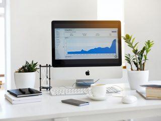 desktop setup with keyboard
