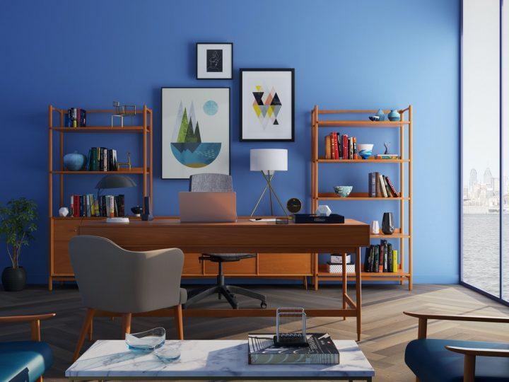 best office wall décor - office wall decor on a plain blue wall
