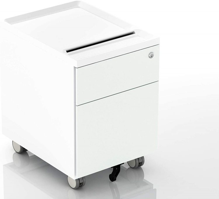 CuHome 2-Drawer Mobile Filing Cabinet with Lock and Casters, Fully Assembled, Vertical File Metal Cabinet for Home Office, Small Filing Cabinet Under Desk