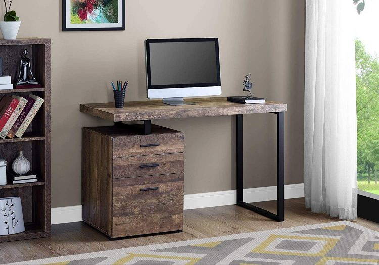 Monarch Specialties Computer Desk with File Cabinet - Left or Right Set- Up - 48 L (Brown Reclaimed Wood Look)