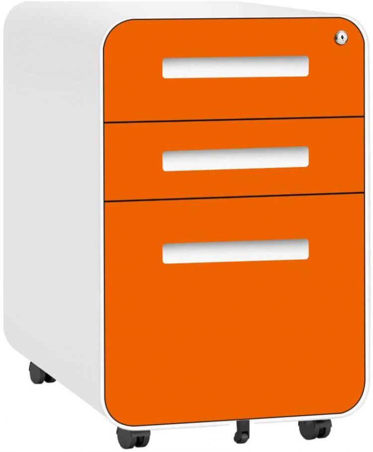 3 Drawer Mobile File Cabinet with Lock Under Desk Office Drawers Metal Locking Filing Cabinet for Legal Letter Files Anti-tilt Design Office Rolling File Cabinet Fully Assembled (Orange)