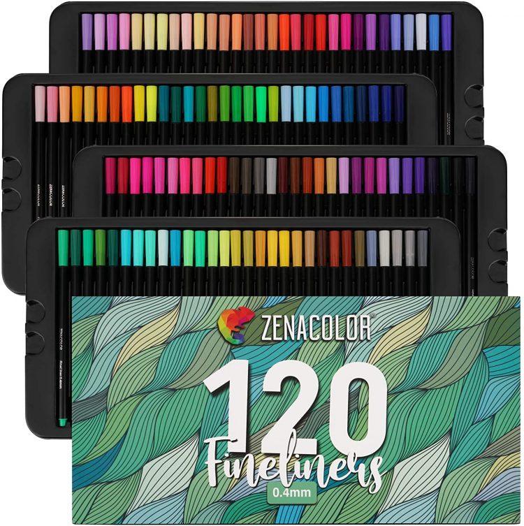 Zenacolor 120 Colored Fine Tip Pen Set