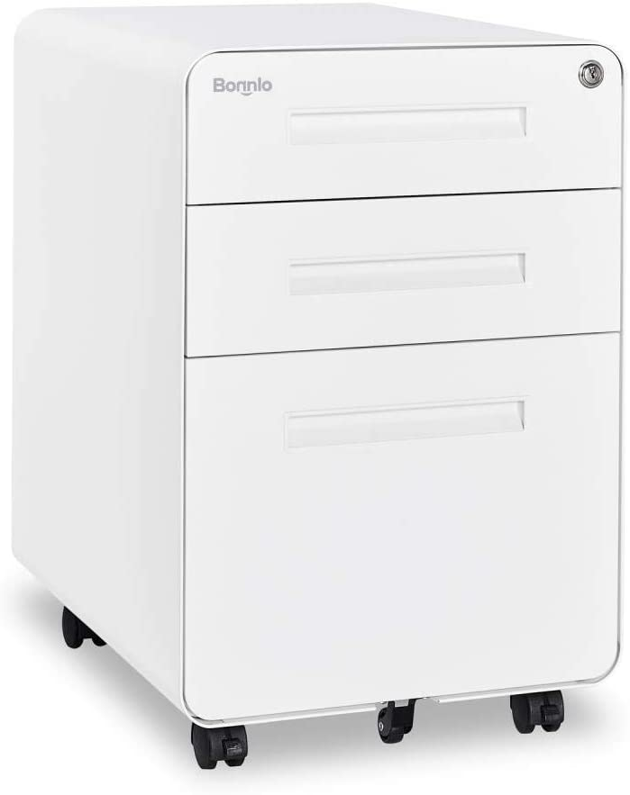 Bonnlo White Rolling Office File Cabinet Under Desk Filing Storage Cabinet, Fully Assembled Except Wheels