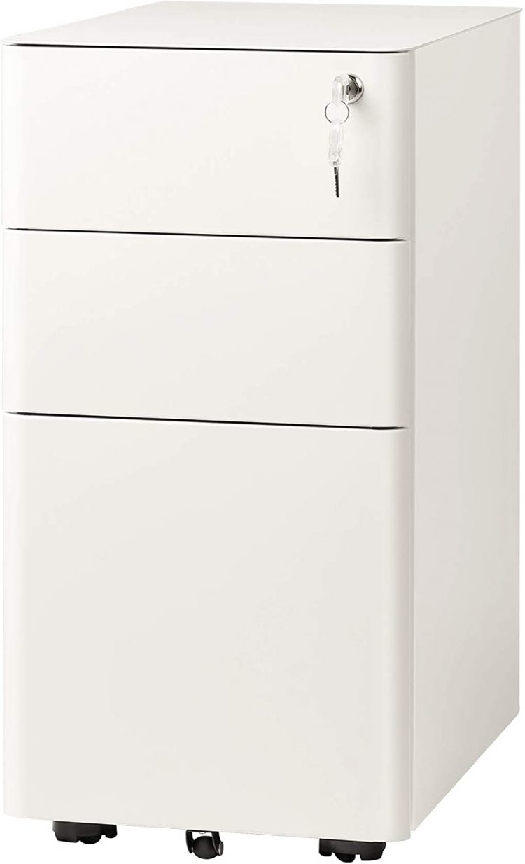 DEVAISE 3-Drawer Slim Vertical File Cabinet, Fully Assembled Except Casters, Legal Letter Size, White