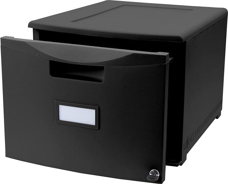 Storex Single Drawer Mini File Cabinet with Lock, Legal Letter, 18.25 x 14.75 x 12.75 Inches, Black (STX61260B01C)