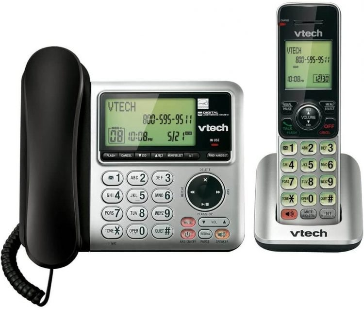 Best Home Office Phone - VTech CS6649 Expandable Corded Cordless Phone System with Answering