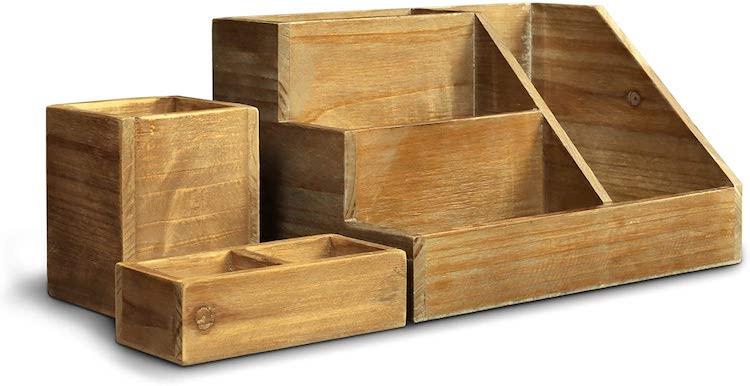 3 PIECE Rustic Wooden Desk Organizer