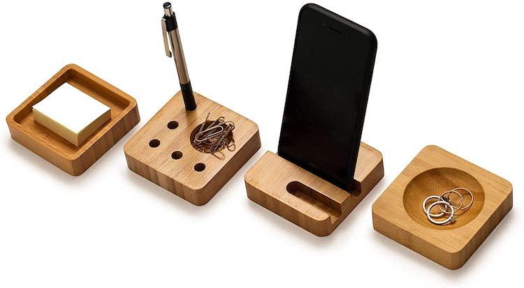 4-Pc Bamboo Desk Accessory