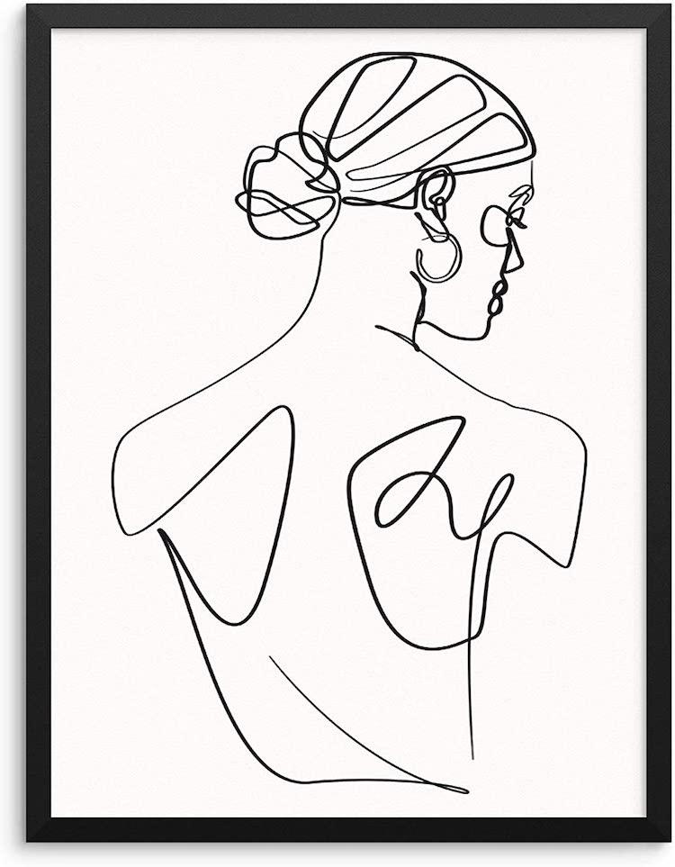 Abstract Woman's Body Shape Wall Decor Art Print Poster