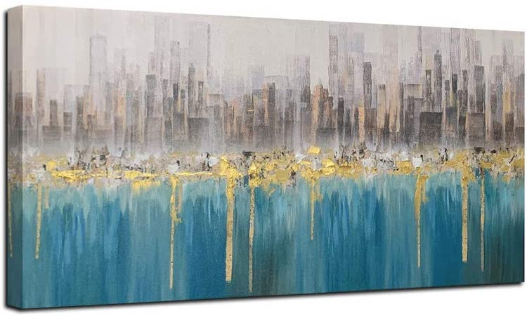Ardemy Teal Abstract Cityscape Canvas Wall Art Modern Skyline Gold Textured Painting