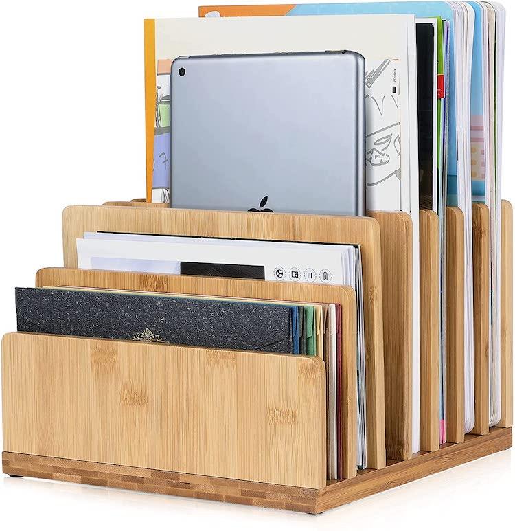 Bamboo Desk Mail Organizer