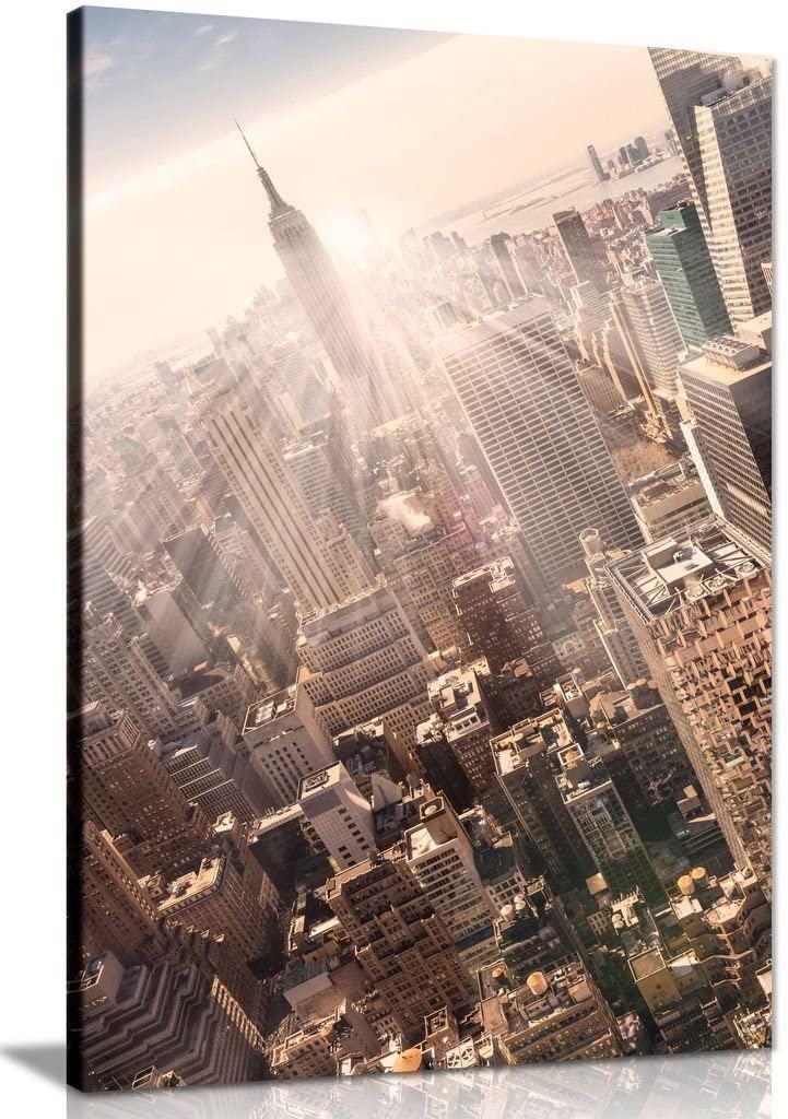 New York Skyline Empire State Building Skyscrapers Office Canvas Wall Art Print