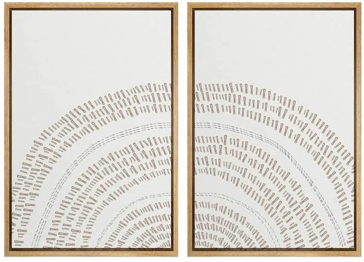 SIGNWIN 2 Piece Framed Canvas Wall Art Nordic Style Abstract Trees Canvas Prints