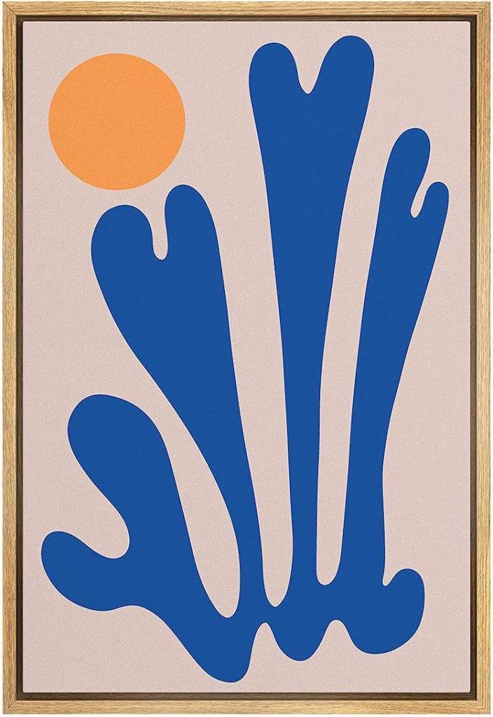 SIGNWIN Framed Canvas Print Wall Art Blue Abstract Symbol with Orange Sun Geometric Shapes Illustrations
