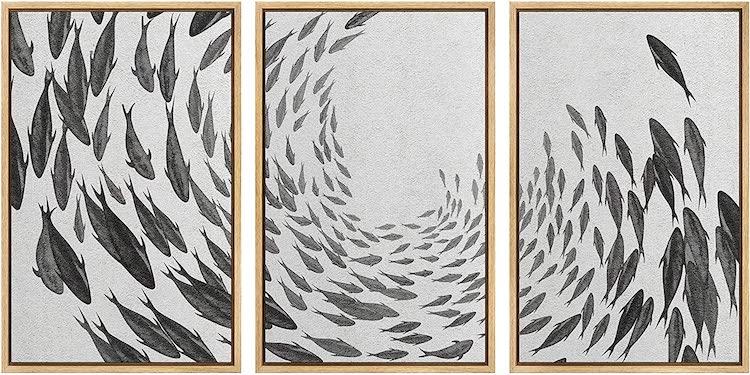 SIGNWIN Framed Canvas Print Wall Art Swirling School of Fish