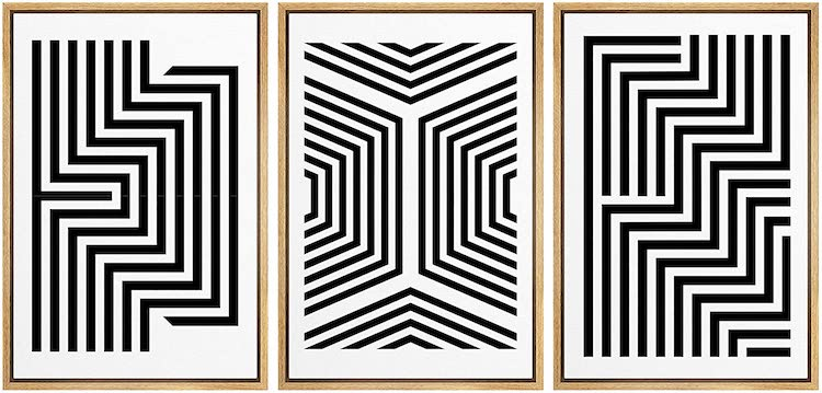 SIGNWIN Framed Canvas Wall Art Black and White Symmetrical Angular Stripes and Lines Geometric Patterns