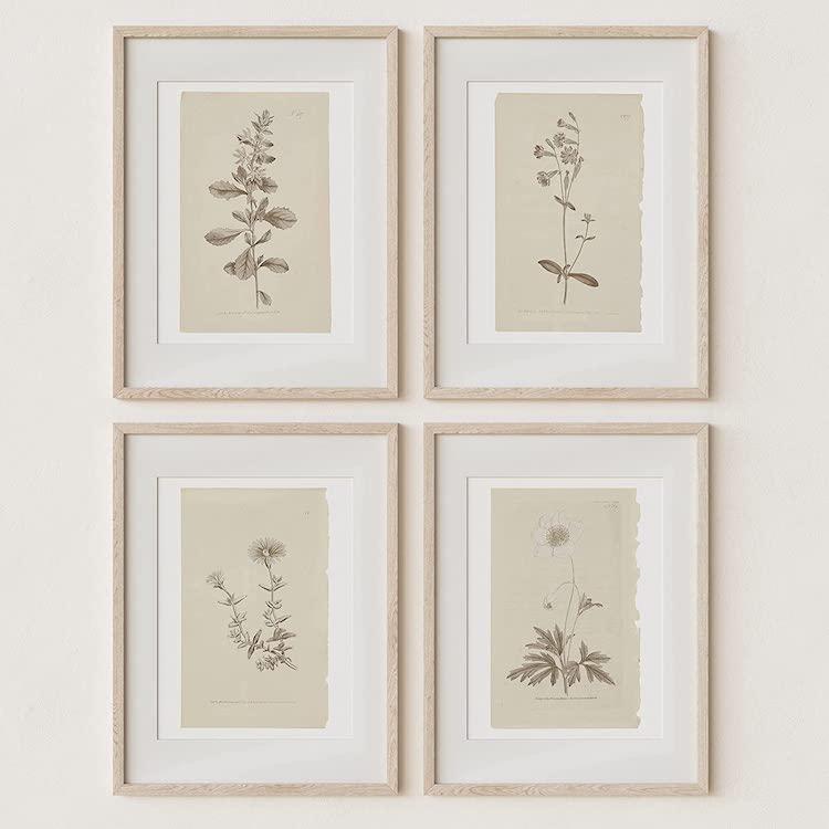 Vintage Flower Boho Minimalist Floral Artwork Decor
