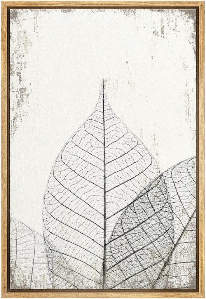 wall26 Framed Canvas Print Wall Art Transparent Black & White Leaf Trio on Grunge Background